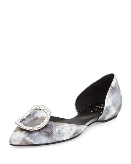 Roger Vivier Sexy Choc Strass Ballerina Flat, Silver/Multi