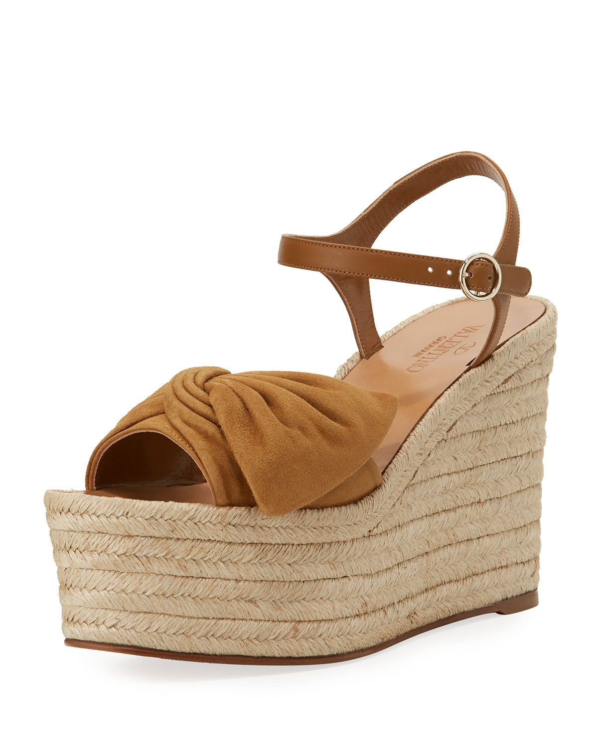 Valentino Peep-Toe Bow Espadrille Wedges cheap price cost wRI23Tb
