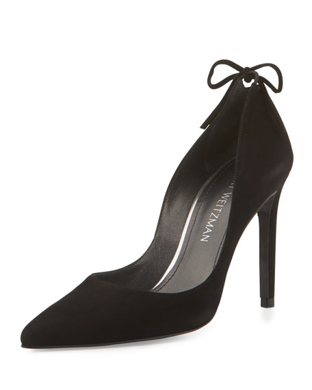 Peekabow Suede Pointed-Toe Pump