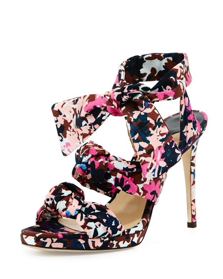 Jimmy Choo Kris Printed Knotted 100mm Sandal, Dahlia/Brown