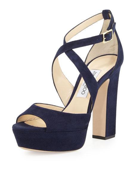 April Suede Crisscross 120mm Sandal