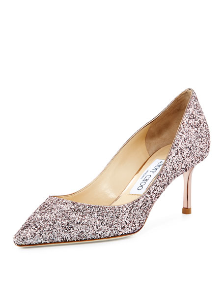 Jimmy Choo Romy Glitter Pointed-Toe 60mm Pump, Tea