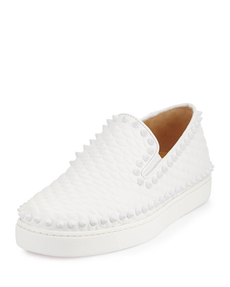 Pik Boat Spiked Red Sole Sneaker, Latte/White