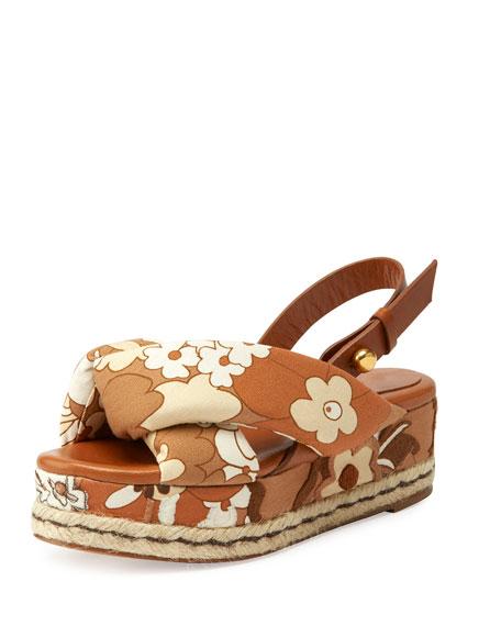 Chloe Floral Canvas Platform Espadrille Sandal, Tan/Multi