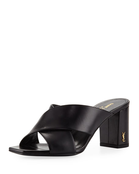 Saint Laurent Leather Crisscross 70mm Slide Sandal, Black