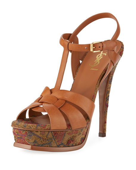 Saint Laurent Tribute Tapestry 135mm Platform Sandal, Brown