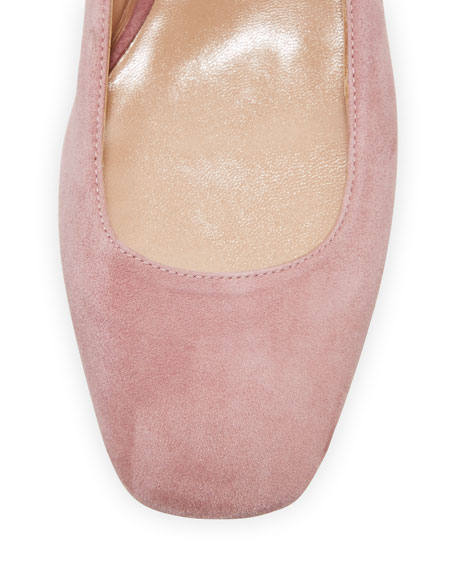 Plum Suede Lace-Up Ballet Flat
