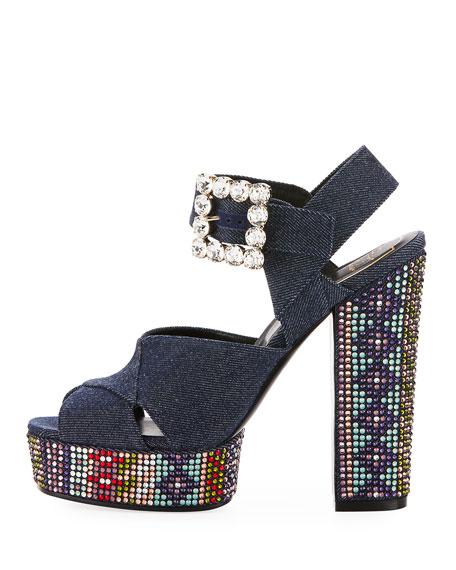 Anjelica Crystal Denim 130mm Sandal, Blue