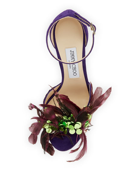 Annie Feather Suede 100mm Sandal