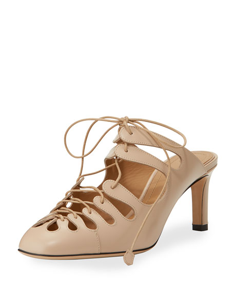 Dixie Patent Lace-Up Mule, Beige