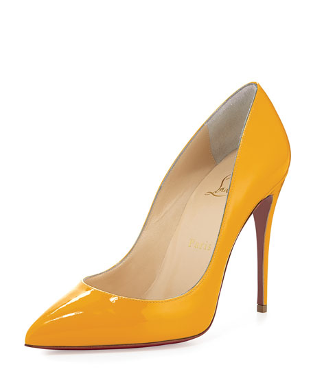 Pigalle Follies Patent 100mm Red Sole Pump, Yellow
