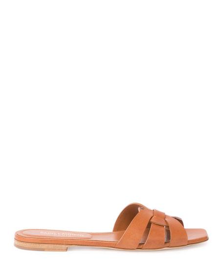 Woven Leather Sandal Slide