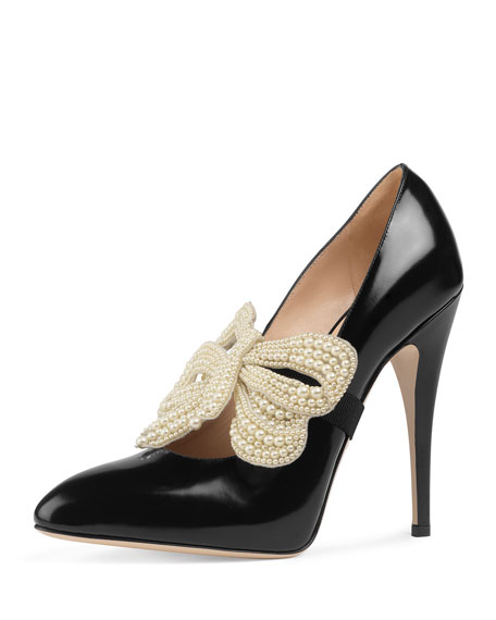 Gucci Elaisa Pearly Bow Pump, Black