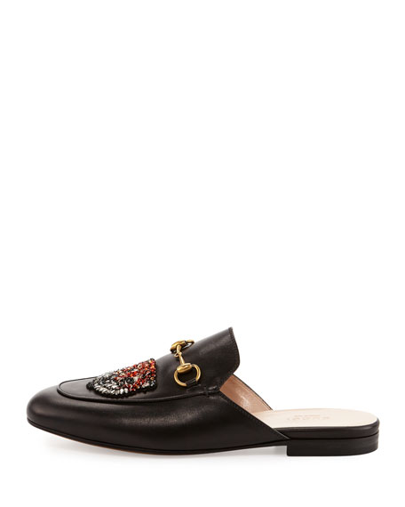 Gucci Sword & Tiger Horsebit Mule, Black