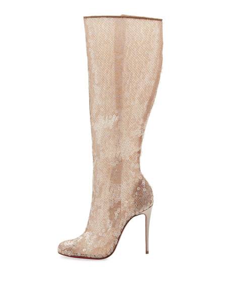 Tennissina Sequined Red Sole Knee Boot, Nude