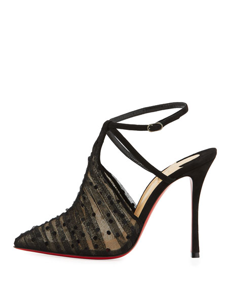Acide Lace Tulle Red Sole Pump, Black