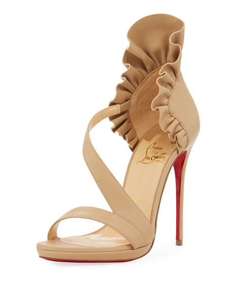 Christian Louboutin Col Ankle Ruffle Red Sole Sandal,