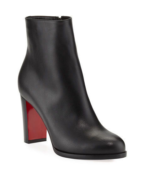 Christian Louboutin Adox Leather Block-Heel Red Sole Boot