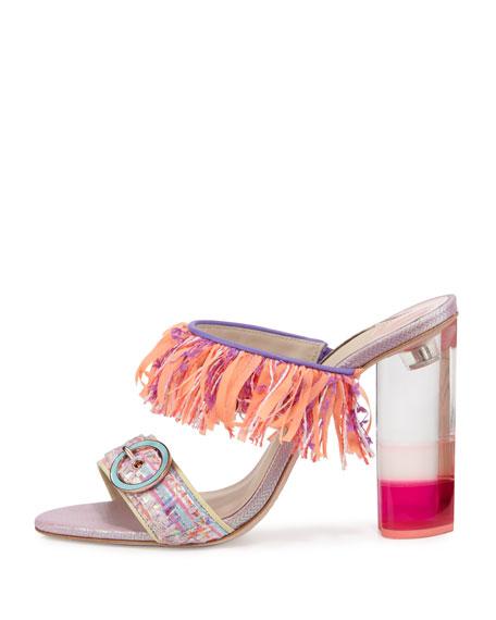 Darla Fringe Buckle Slide Sandal, Multi