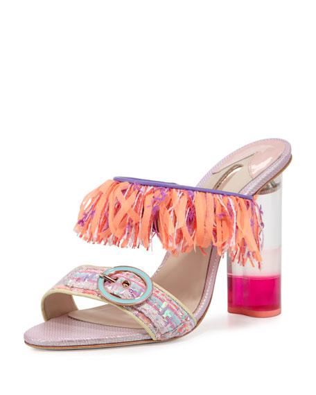 Sophia Webster Darla Fringe Buckle Slide Sandal, Multi
