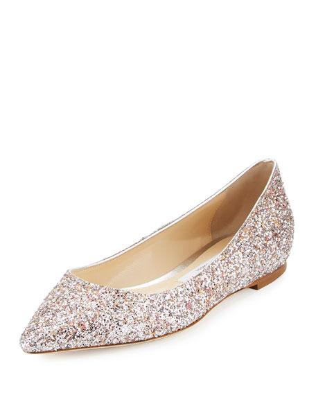 Jimmy Choo Romy Glitter Suede Ballerina Flat, Camellia