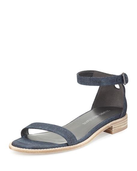 Stuart Weitzman Nudistflat Denim Ankle-Wrap Sandal