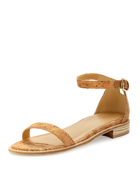 Stuart Weitzman Nudistflat Cork Ankle-Wrap Sandal