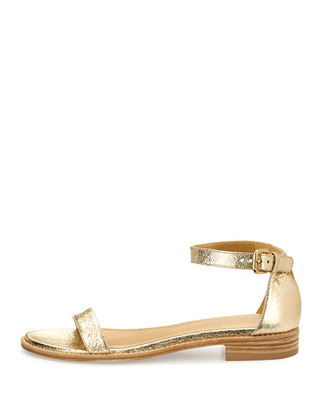 Nudistflat Metallic Napa Ankle-Wrap Sandal, Gold