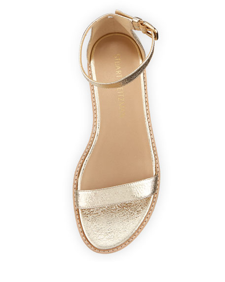 Nudistflat Metallic Napa Ankle-Wrap Sandal, Gold