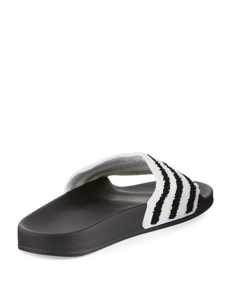 Adilette Striped Slide Sandal, Black/White