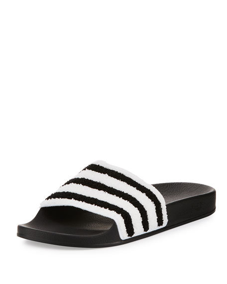 Adidas Adilette Striped Slide Sandal, Black/White