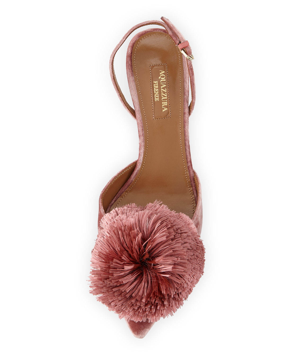 00fdf2a44e Aquazzura Powder Puff Pompom Pumps, Antique Rose | Neiman Marcus