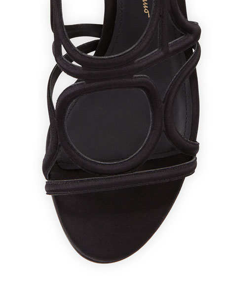 Vinvi 55 Suede Ankle-Wrap Sandals, Black