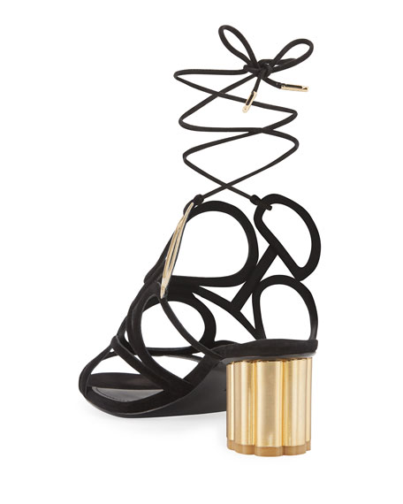 Vinvi 55 Suede Ankle-Wrap Sandals, Black