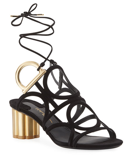 Suede Ankle-Wrap Sandal, Black