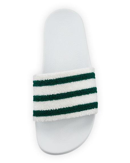 Adilette Striped Slide Sandal, White/Green