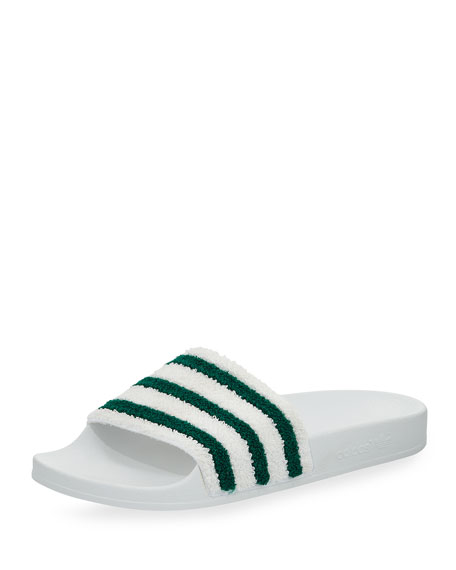 Adidas Adilette Striped Slide Sandal, White/Green