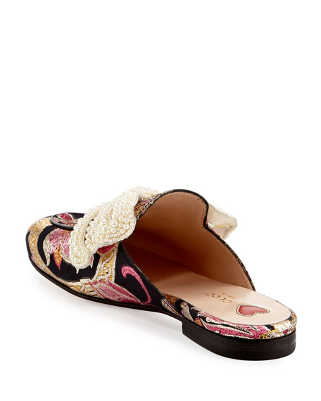 Bow Brocade Mule, Pink