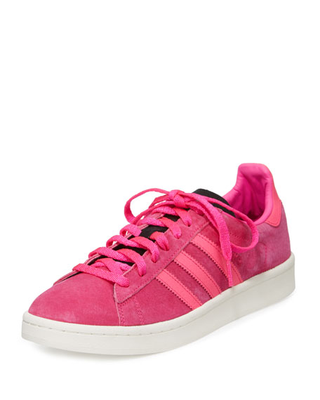 Adidas Campus Suede Lace-Up Sneaker, Coral