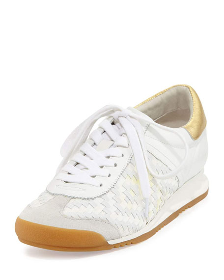 Ash Scorpio Diamond Woven Leather Wedge Sneaker