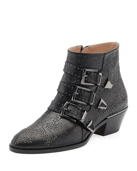 Suzanna Studded Buckle Boot, Black