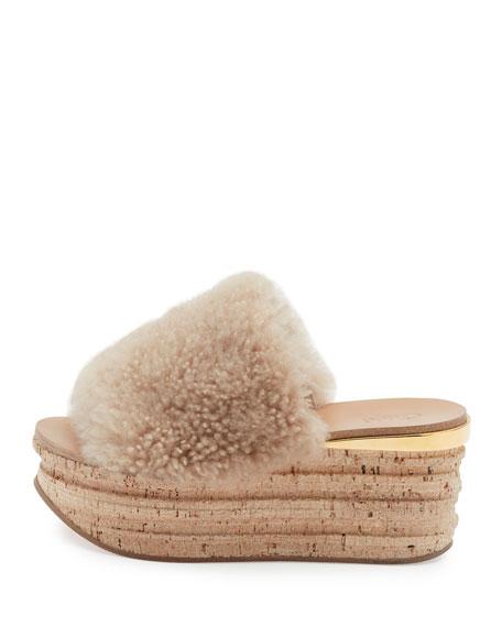Camille Shearling Fur Platform Slide Sandals, Sand