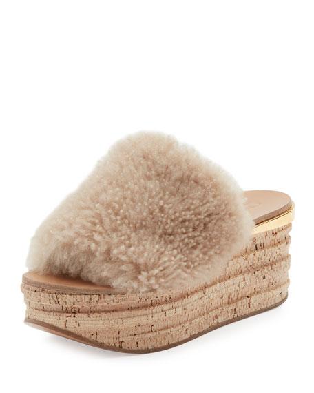 Chloe Camille Shearling Fur Platform Slide Sandals, Sand