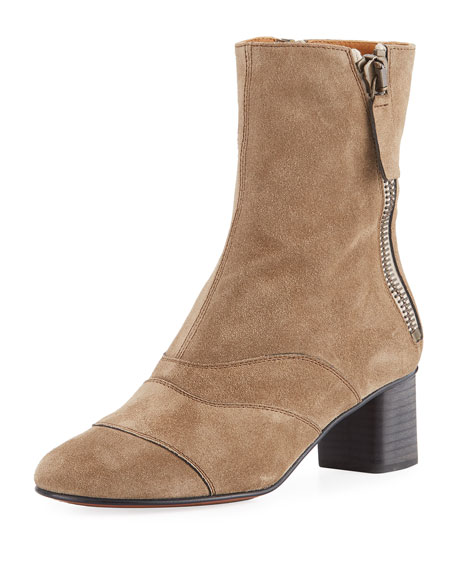 Chloe Lexie Short 30mm Boot, Dark Beige