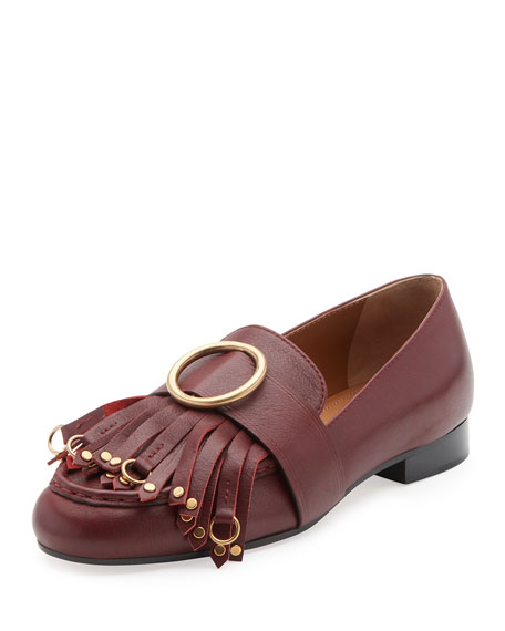 Chloe Olly Leather Kiltie Loafer, Sienna Red