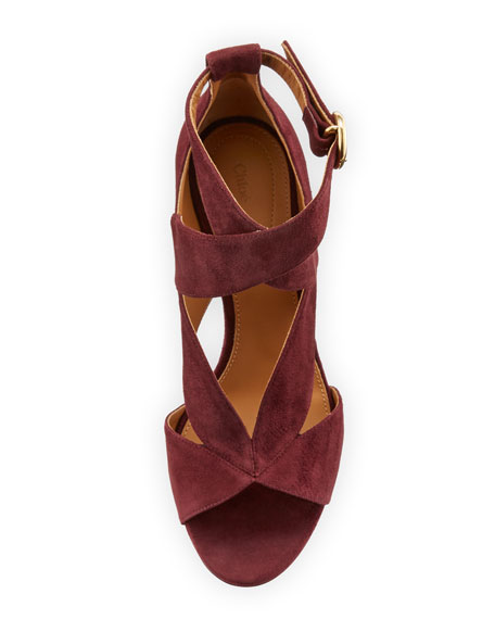 Graphic Leaves Cutout Suede Sandal