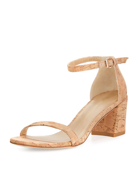 Stuart Weitzman Simple Cork Low City Sandal, Neutral