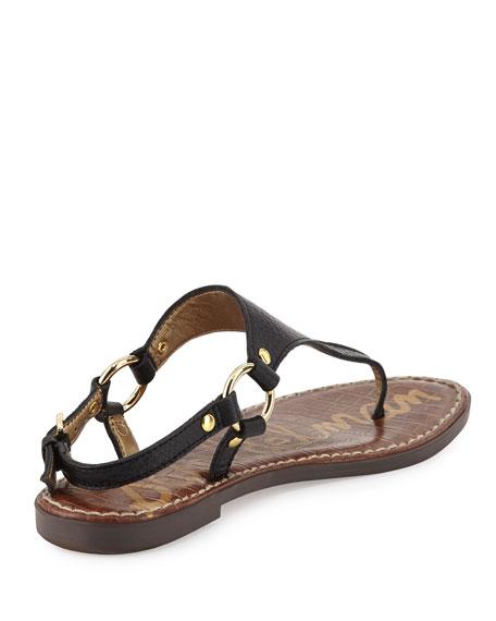 Greta Tumbled Leather Flat Sandal