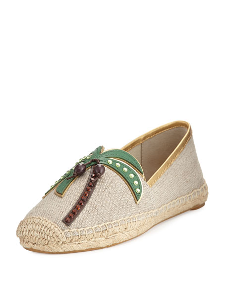 Tory Burch Castaway Canvas Flat Espadrille, Neutral
