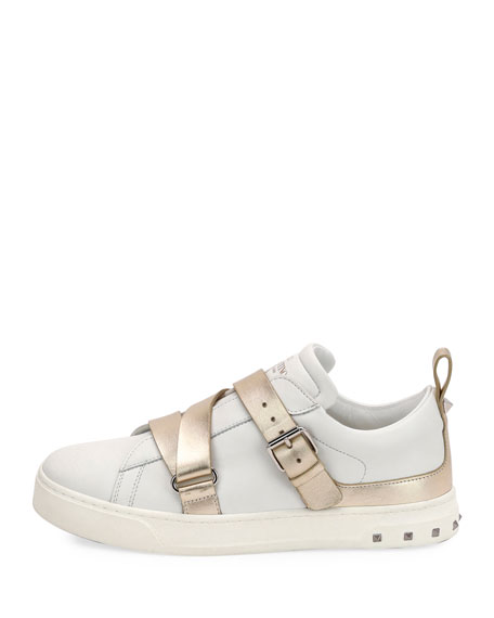 Colorblock Strappy Low-Top Sneakers, White/Platino